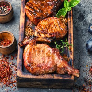 Grilled meat with autumn plum